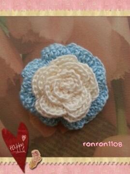 ハンドメイド/手編み♪レース編み2色のお花モチーフ 129