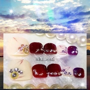 ジェルネイルチップ☆付け爪〜フット/ベージュ大理石×ボルドー
