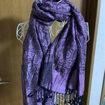 紫★カジュアル★柄★ストール*