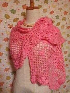 手編みバラの模様編みモヘアのストール