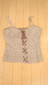 茶刺繍リボン可愛い胸デカ効果セクシーキャミソールMARS
