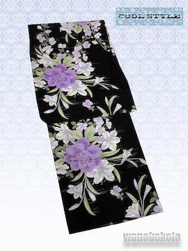【和の志】女性用浴衣◇黒系・薔薇・百合柄◇KWF652-25