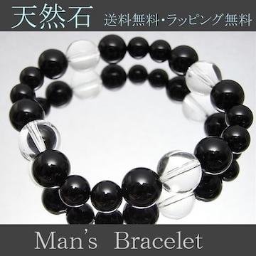オニキス&水晶ブレスレットサイズ変更無料新作数珠