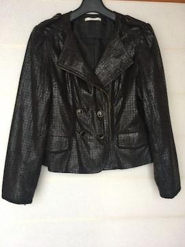 axes femme レース風加工のオシャレなジャケット M 黒 N2m