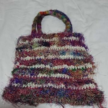 ネパール製 シルク糸使用ミニトートバッグ新品未使用