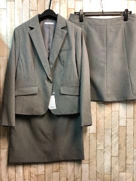 新品☆17号LLスカート2種類付きスーツ グレーストライプ☆j721