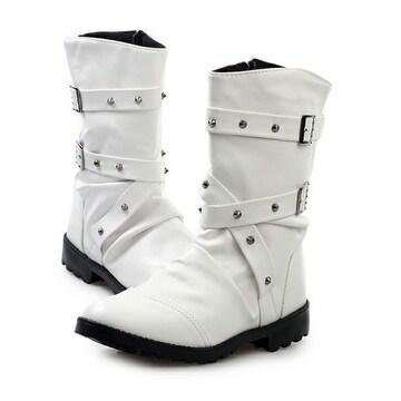 ベルトロングブーツ/シューズ靴/お兄系ホストメンナクオラオラ系悪羅悪羅系/78白27.0