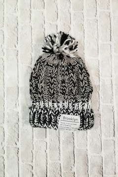 Brooklynポンポン付きミックスニット帽57.5〜59�p◆帽子