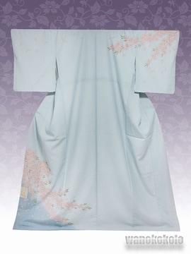 【和の志】洗える着物◇袷・付下げ◇青鼠系・桜柄◇KTK-127