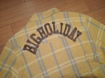 新品TMT背ロゴ開襟チェックシャツMマ刺繍ステッチBIG HOLIDAY