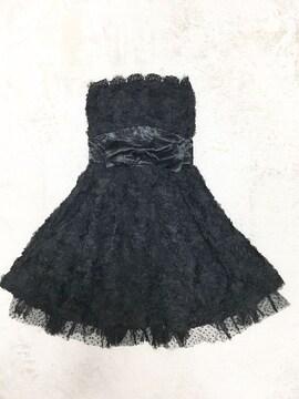 黒フラワーリボンレースチュールフレアドレスワンピ結婚式姫バラ