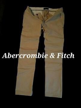 【Abercrombie&Fitch】最新 アバクロ Vintage ストレッチ チノパンツ W34/カーキ