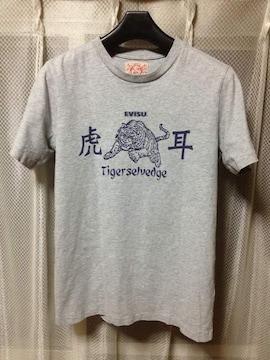 EVISU エヴィス エビス 虎耳 プリント半袖Tシャツ Sサイズ36 グレー 灰色