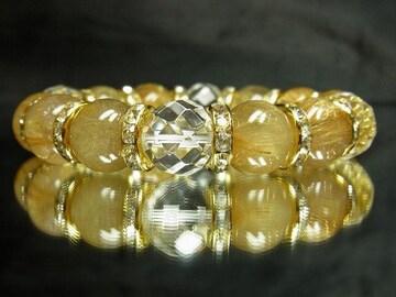 64面ダイヤカット水晶×タイチンルチル数珠ブレスレット!!金運アップ天然石