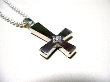 仁尾彫金『一つ星ダイヤホワイト逆十字クロス』ハンドメイドb