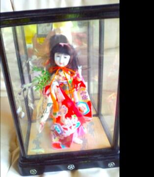 アンティーク 美しい日本人形 踊り子日本製 ガラスケース入り