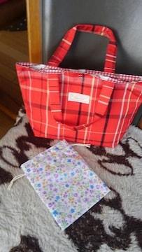 チェックトートバッグ・小花柄巾着袋付き