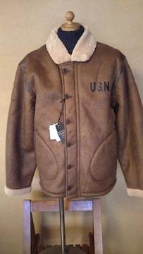 売り切りセール/Houston/フェイクムートンN-1デッキジャケット/ブラウン/XL