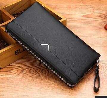 セカンドバッグ 多機能 送料無料 カード12枚収納 黒色
