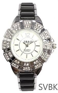 装飾ベゼル★セラミック風コンビベルトレディース腕時計SVBK