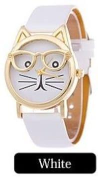 人気★ネコデザイン腕時計PUレザーベルト★ホワイト
