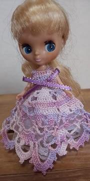 プチブライスラベンダー×ピンクのレース編みドレス