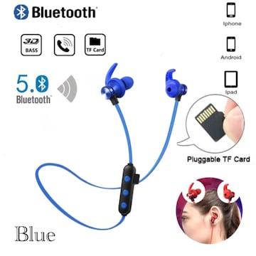 Bluetooth 5.0 イヤホン 両耳 ワイヤレス マイク TF無線 ブルー