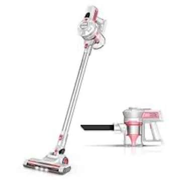 色ピンク 掃除機 コードレス サイクロン 強吸引力 スティック
