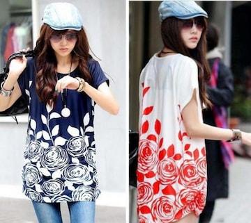 特価★薔薇プリントチュニック/ロング/Tシャツ/長袖/紺/赤/紫