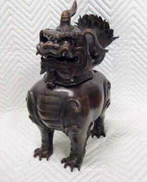 ★旧家蔵出し★大明宣徳年製 香炉 獅子 狛犬 シーサー