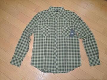 新品TMTウエスタンチェックシャツL緑系F16定価23000円