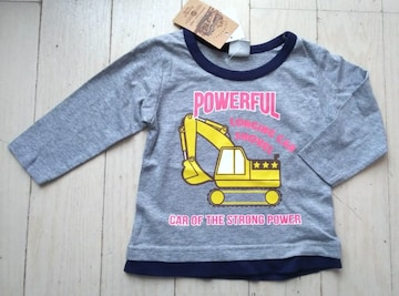 80★SPUNKY KIDS★パワーショベル★ショベルカー長袖Tシャツ★ロンT★