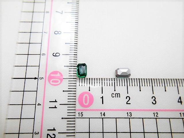 e11★4×6mm★長方形型ガラスストーン★エメラルド色★10粒 < 香水/コスメ/ネイルの