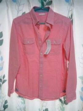 ダンガリーシャツ ワークシャツ Sサイズ レッド  新品 長袖