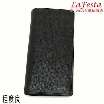 本物程度良◆ルイヴィトン【タイガ:黒】2つ折り長財布(ブラザ