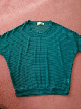 美品☆編み編み♪ドルマン袖☆濃ブルーM