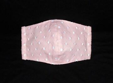 即決◆ベビーピンクドットレース×白下地◆ファッションマスク