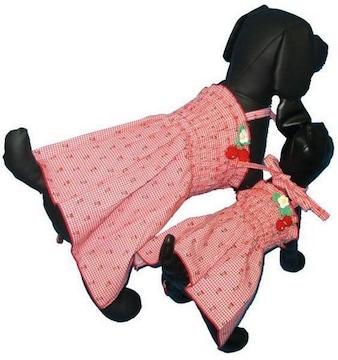 J13)Lサイズ!チェリー付チェックワンピース赤犬服Dogセレブさくらんぼ