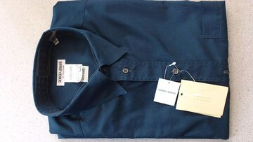 激安76%オフジョルジオ、アルマーニ、長袖シャツ(新品タグ、紺、イタリア製、M)
