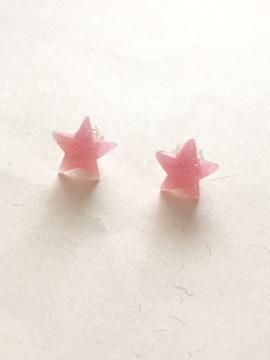 ピンクラメ☆スターピアス☆樹脂ポスト