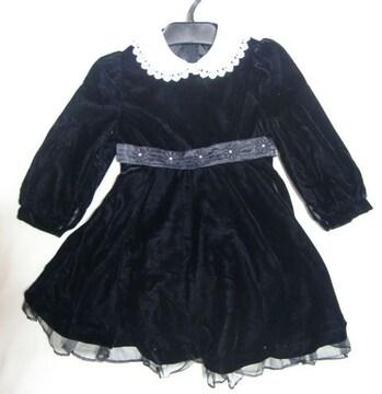 新品 ベロア 黒 ワンピース 冠婚葬祭 ブラック 110