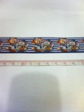 紺色ボーダー22mm巾 ダッフィー&ジェラトーニ柄リボン1M