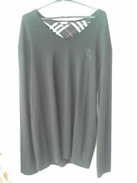 BURBERRY BLACK LABEL黒色羊毛100%ニットビックホースマーク 美品
