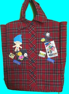 ☆シャツのような・・・ リメイクバッグ アメキャラパッチ