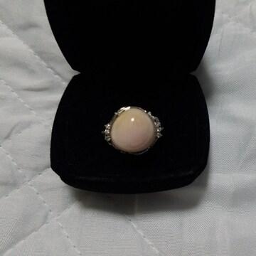 ピンクオパールリング 指輪 刻印有 15.44ct D0.07ct 13号