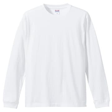 5.6オンス ロングスリーブTシャツ(1.6インチリブ)ホワイト L