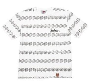 爆裂爛漫娘/髑髏ボーダー/Tシャツ/白/rmt-244/エフ商会/テッドマン/カミナリ