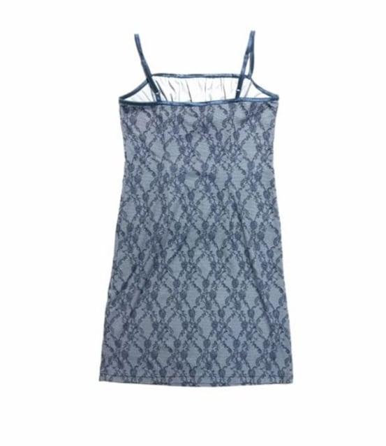 ランジェリー風レース柄ドレスキャミソールワンピースネイビー(L)美品 < 女性ファッションの