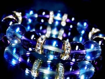 ブルーオーラ§AAAAアメジスト12ミリ§金ロンデル数珠