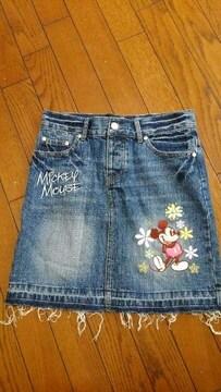 """""""ミッキーマウス刺繍""""が可愛いダメージ風Gミニスカート=M="""